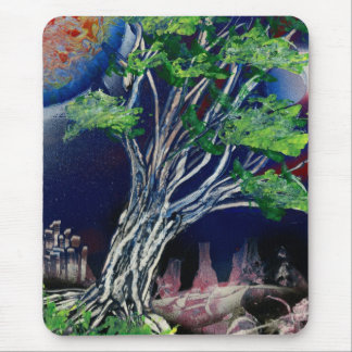 Tree Painting with blue city and orange sun Mouse Pad
