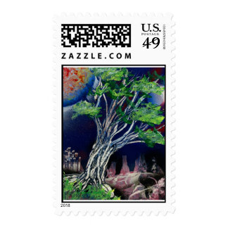 Tree Painting with blue city and orange sun Postage Stamp