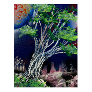 Tree Painting with blue city and orange sun Postcard