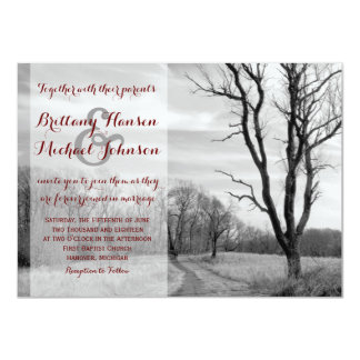 "Tree Path Rustic Country Wedding Invitations 4.5"" X 6.25"" Invitation Card"