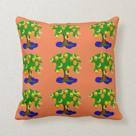 Tree Pond Tropical Vibe Patterned Throw Pillow