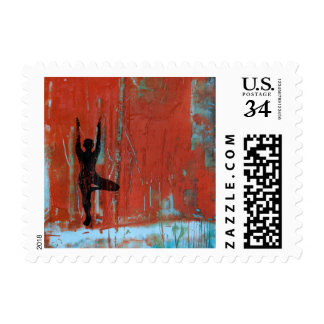 Tree Pose Yoga Girl - Postage Stamp