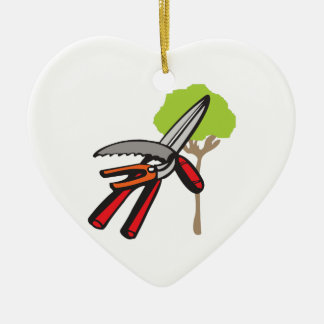 TREE PRUNING Double-Sided HEART CERAMIC CHRISTMAS ORNAMENT