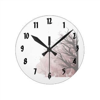 Tree purple floral right corner round clock