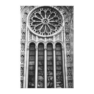 Tree Reflected in Synagogue Window Canvas Print