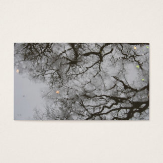 Tree Reflections & Rain in Water Photo Card