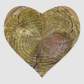 Tree Rings in a Globe in abstract Heart Sticker
