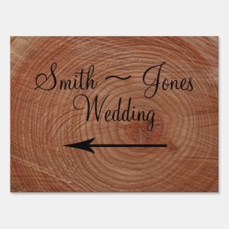 Tree Rings Rustic Country Wedding Direction Sign
