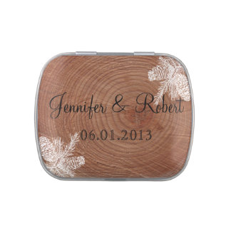 Tree Rings Rustic Country Wedding Favor Tin Candy Tins