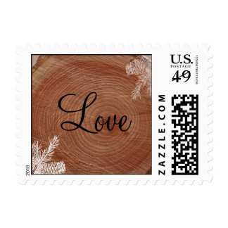 Tree Rings Rustic Country Wedding Postage Stamp