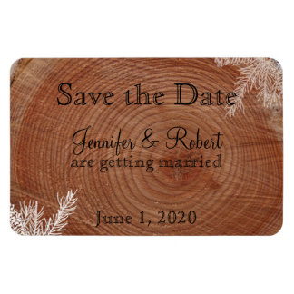 Tree Rings Rustic Country Wedding Save the Date Rectangular Photo Magnet