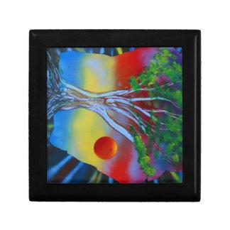 tree rock spacepainting colorful image jewelry box