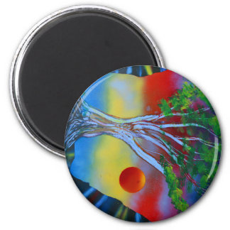 tree rock spacepainting colorful image refrigerator magnet