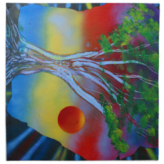 tree rock spacepainting colorful image napkin