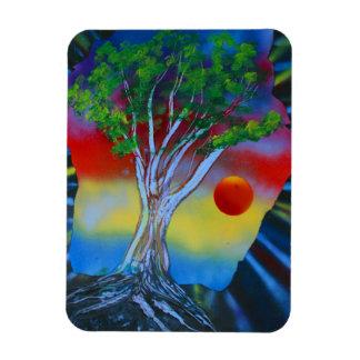 tree rock spacepainting colorful image rectangular magnet