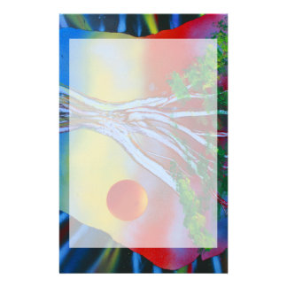 tree rock spacepainting colorful image stationery