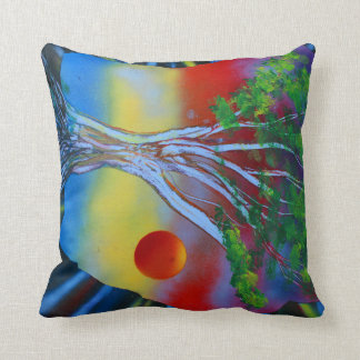 tree rock spacepainting colorful image throw pillow