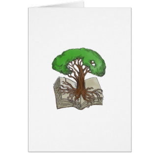 Tree Rooted on Book Tattoo Card
