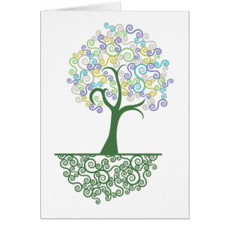 Tree ~ Roots of Life Colorful Scroll Trees Card