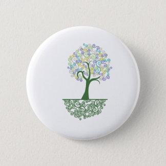 Tree ~ Roots of Life Colorful Scroll Trees Pinback Button