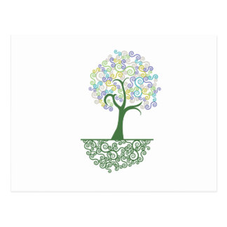 Tree ~ Roots of Life Colorful Scroll Trees Postcard