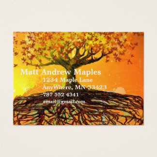 Tree Roots Orange and Yellow Business Card