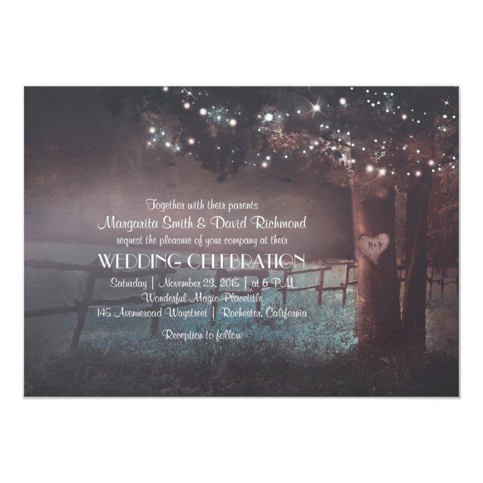 Outdoor Wedding Invitations: Tree Rustic Summer Outdoor Wedding Invitation