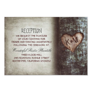 tree rustic wedding reception & driving directions 3.5x5 paper invitation card