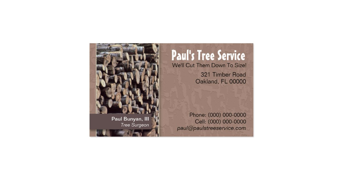 Tree service firewood business card zazzle for Firewood business cards