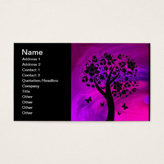 Tree Silhouette and Butterflies Abstract Art Business Card