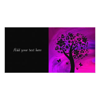 Tree Silhouette and Butterflies Abstract Art Photo Card