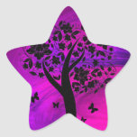 Tree Silhouette and Butterflies Abstract Art Stickers