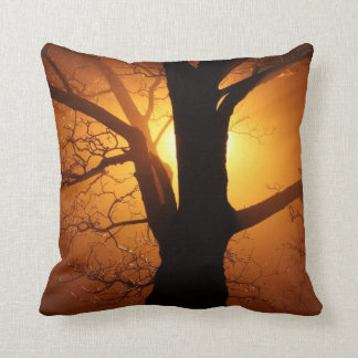 Tree Silhouette at Sunset Accent Throw Pillow
