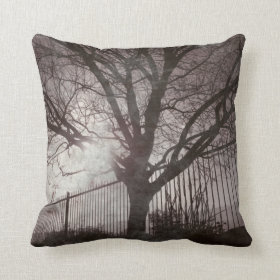 Tree Silhouette at Sunset Rustic Throw Pillow