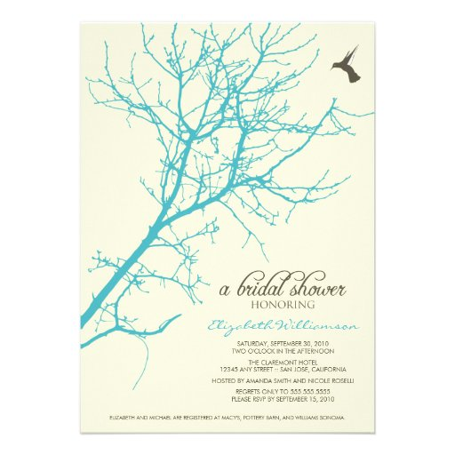 Tree Silhouette Bridal Shower Invitation (aqua)