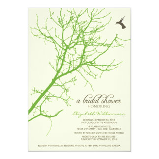 Tree Silhouette Bridal Shower Invitation (lime)