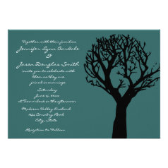 Tree Silhouette Country Blue Wedding Invitations