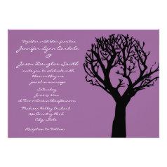 Tree Silhouette Country Purple Wedding Invitations
