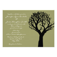 Tree Silhouette Country Sage Wedding Invitations