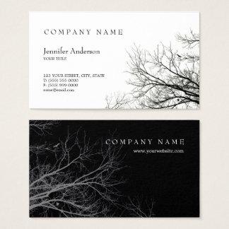 Tree Silhouette Creative Black White business card