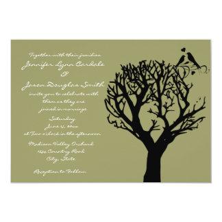 Tree Silhouette Love Birds Sage Wedding Invitation