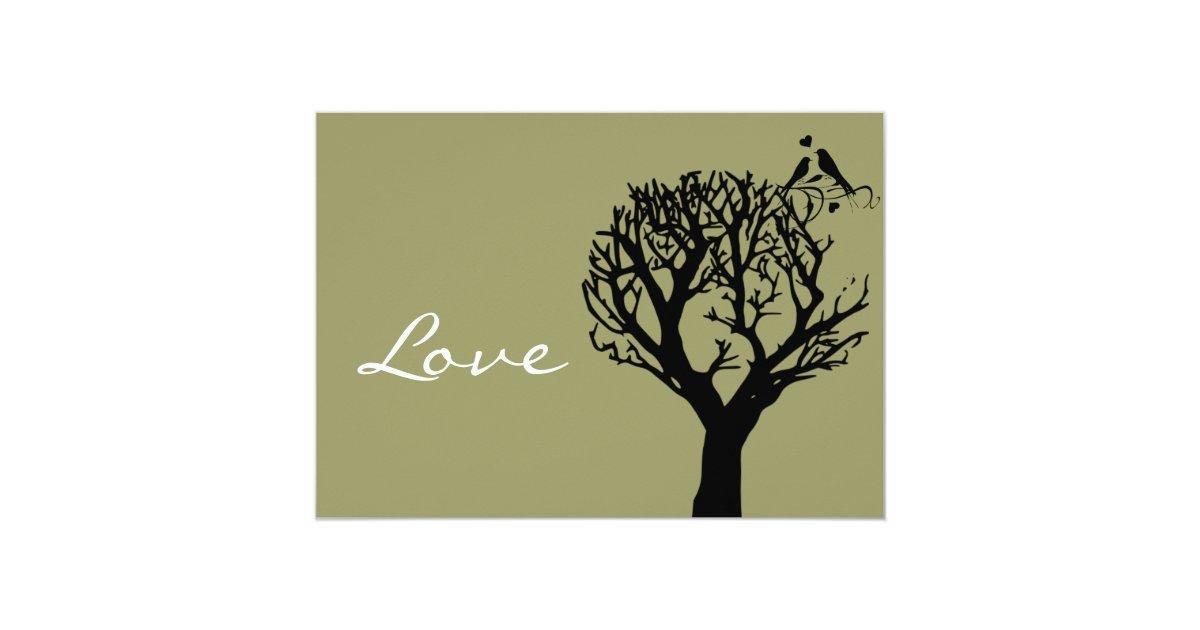 Tree Silhouette Love Birds Sage Wedding Invitation | Zazzle