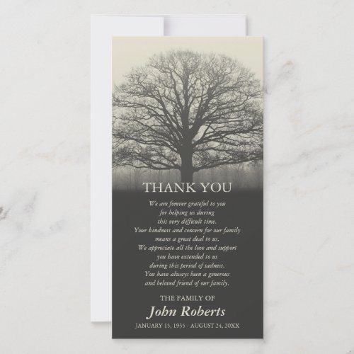 Tree Silhouette Memorial Service Thank You