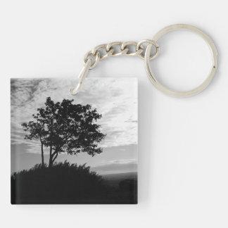 Tree Silhouette Monochrome Keychain