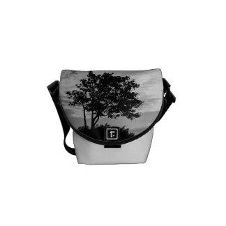 Tree Silhouette Monochrome Messenger Bags