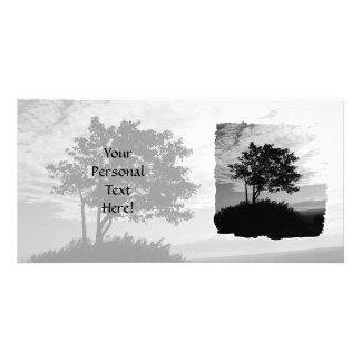 Tree Silhouette Monochrome Photo Card