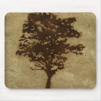Tree Silhouette on Bronze Background Mouse Pad