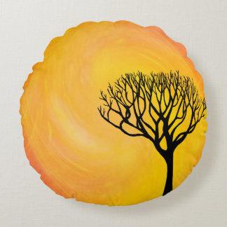Tree Silhouette (Orange Sunburst) Round Pillow