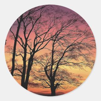 Tree Silhouette Round Stickers