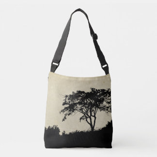 Tree Silhouette, Rustic Landscape Trees Grassy Crossbody Bag